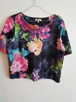PAPAYA - Ladies Womens Girls Colourful Floral Short Sleeved Summer Top Size 12