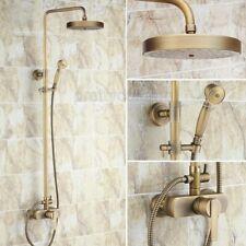 Retro Antique Brass Wall Mount Rain Bathroom Shower Faucet Set Mixer Tap Prs177