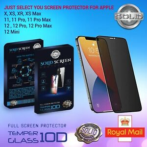 Privacy Apple iPhone XS XR  11 12 RANGE Screen Protector Tempered Glass 10D  9H