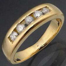 Low Channel Set 18k Solid Yellow GOLD 5 DIAMOND ETERNITY RING Val=$2060 Sml Sz J