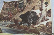 Arnold Friberg Western print 1940's Bear protecting Cubs Alert to Danger
