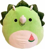 "Squishmallow Kellytoy 12""Tristan The Green Triceratops Plush Doll Toy Pillow Pet"