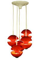 Kaiser Kaskaden Pendel Leuchte Klaus Hempel Design Leuchte Orange Vintage 70er