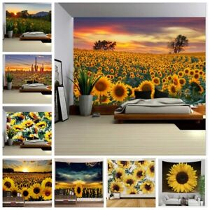 Sunflower Landscape Tapestry Wall Hanging Blanket Art Home Decor Wall Tapestries