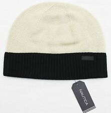 NAUTICA Men's Tan/Black Wool Beanie Cap/Hat (OS) NEW NWT $60