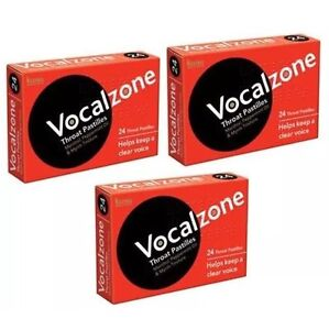 3 X Vocalzones - 24 Throat Pastilles Helps Keep A Clear Voice Expiry - 09/2022