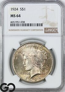 1924 MS64 Peace Dollar NGC Mint State 64 ** Lustrous!
