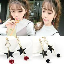 Wood Star Velvet Bead Long Dangle Lady Earrings Crystal Ear Stud Fashion Jewelry