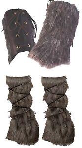 Viking Warrior Indigenous Native Faux Fur Wrist Cuffs Leg Warmer Accessories