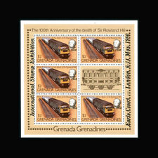Grenada Grenadines, Sc #390, MNH, 1980, S/S, Trains, Stamp Expo, TR031F