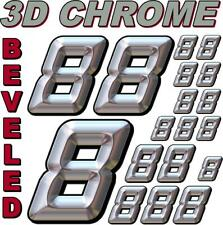 (8's) 3-D CHROME BEVELED NUMBERS Decal Sticker Sheet 1/8-1/10-1/12 RC Model3