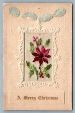 CHRISTMAS ANTIQUE POSTCARD SILK EMBROIDERED FLOWER