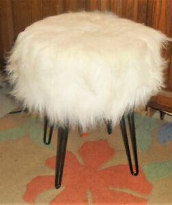 Faux Fur Vanity Stool, Metal Hairpin Legs White Shaggy