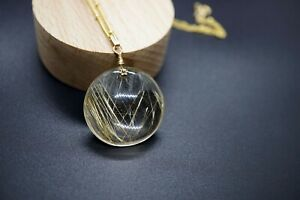 Natural Round Gold Rutilated Quartz in Gold-filled Pendant 28mm Gift for Her18''