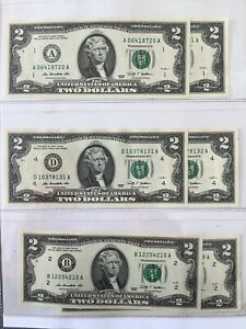 UNITED STATES $2 2009 Consecutive x 2 UNC Banknotes (6 in total)