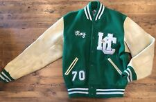 Vintage 1970 High School Letterman Jacket Men's 42 Green White Hc Football Pin