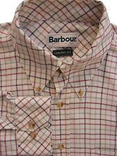 BARBOUR Shirt Mens 16 L Cream - Multi-Coloured Check COMFORT FIT
