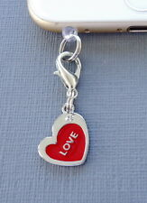 Heart Red cell phone Charm Anti Dust proof Plug ear jack C112 Valentine gift