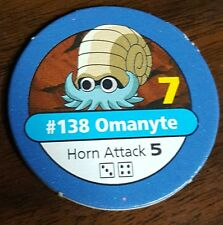 Pokemon Master Trainer #138 Omanyte Horn Attack Blue Pog Playing Chip 1999