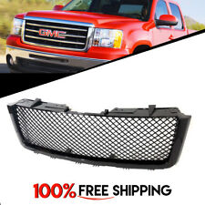 GMC Sierra 1500 Front Steel Mesh Gloss Black Bumper Grill fit years 2007 to 2013