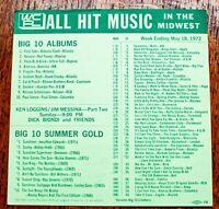 WCFL Chicago Survey Radio Music Chart May 18 1972 Malo Ringo Starr Ken Loggins