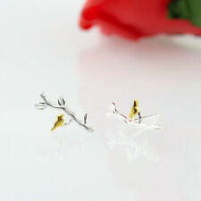 925 Sterling Silver Cute Little Golden Bird Leaves Branch Stud Earring Ear Studs