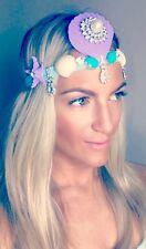 Purple Turquoise Diamond Shell Beach Mermaid Hair Head Band Choochie Hippy Boho