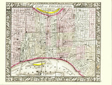 1860 MITCHELL Hand Colored Map PHILADELPHIA - Pre Civil War-Outstanding