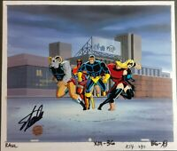 The X-Men Original Animation Production Cel Signed Stan Lee COA Deadpool