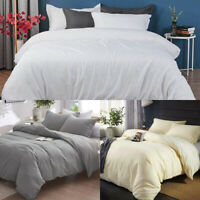 Plain Dyed Duvet Cover Set 200 Thread Count 100% Egyptian Cotton King Size