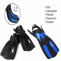 Adjustable Flippers Short Blade Diving Swim Fins Snorkeling Adult Black/Blue