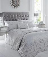 RAVINA SILVER BEDDING / THROW OVER SHIMMER SPARKLE GREY FLORAL SCROLL LEAVES