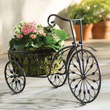 Outdoor Bicycle Wrought Iron Plant Stand Flower Decor Holder Metal Garden Home
