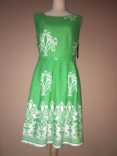 new york and company Green White Summer Sleevles Zippered dress xl-64.95$