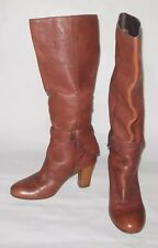 MISS SIXTY WOMEN SHOES TAN SLIP ON BELTED STRAP ANKLES BOOTS EUC SIZE 6