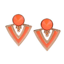Boucles d`Oreilles Clous Puces Doré Ethnique Triangle Orange DD4