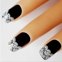 White Flower Lace 3D Nail Art Stickers Decals Self Adhesive Transfers UK Seller