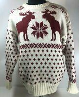 HEATHER & TWEED WOMEN'S SWEATER Moose Deer Red White Knit Sz Large 30% Wool Ugly