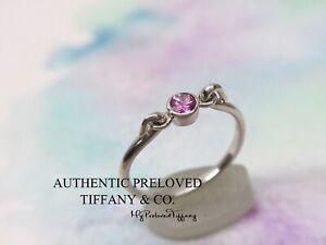Rare Authentic Tiffany & Co. Elsa Peretti Pink Sapphire Swan Silver Ring #5.5