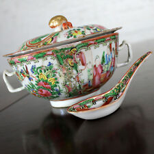 ON SALE! Chinese Qing Rose Medallion Porcelain Double Handle Bowl & Spoon