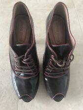 Corso Como Lace Up Peep Toe Ankle booties Shoeties brown Leather High Heel EUC 6