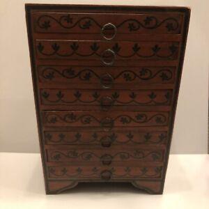 Vintage Solid Wood Oriental Style Storage Set Of Drawers Jewellery Box The Pier