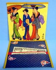 Rice Paper Japanese Wallet In Decorative Gift Box 3 Ladies With Parasols Design