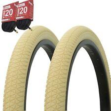 "1PAIR! Bicycle Bike Tires & Tubes 20"" x 1.95"" Cream/Cream Side Wall P-1171"