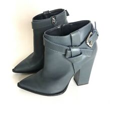 Thakoon Italy 9.5 Blue Gray Booties Buckle Pointy Toe Boots