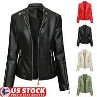 US Women's Casual PU Leather Jacket Ladies Zip Up Biker Blazer Coat Outwear Tops
