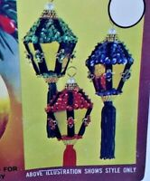 Walco CHRISTMAS LANTERN Sequin Bead Vtg Ornament Kit Makes 3 Tassels RARE Kit!
