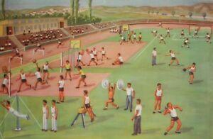1962 Socialist Realism canvas print landscape athletes stadium poster