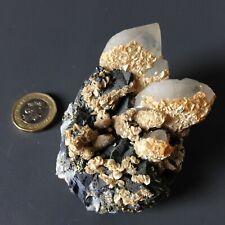 Chalcopyrite Quartz with Dolomite Crystal Specimen Peru 201g 8x5.4cm  ex J Shaw