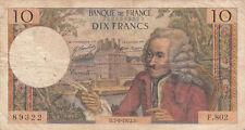 Billet banque 10 Frs VOLTAIRE 07-09-1972 D F.802 état voir scan